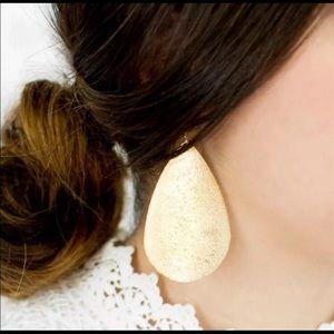 Gold Metal Teardrop Earrings